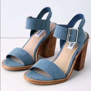 Castro Blue Suede Leather High Heel Sandals - 5.5